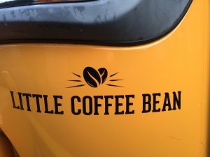 Little coffee bean yellow coffee van